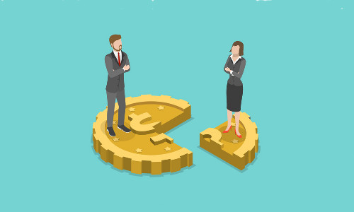 Illustration of a man and woman standing on different pieces of a coin.